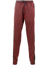 Andrea Crews Striped Track Pants Red