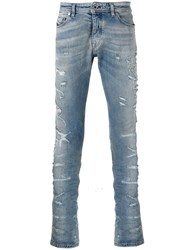 Diesel Black Gold Distressed Slim Fit Jeans Blue