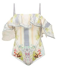 Camilla Beach Shack Off The Shoulder Swimsuit White Print