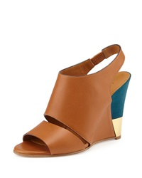 Chloe Chloe Leather Slingback Wedge Brown Turquoise