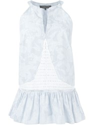 Thakoon Peplum Hem Sleeveless Blouse Blue