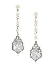 Carolee Icing On The Cake Linear Drop Earrings White