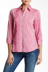 Foxcroft Long Sleeve Shaped Crinkle Gingham Shirt Pink