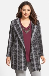 Plus Size Women's Sejour Textured Front Zip Topper