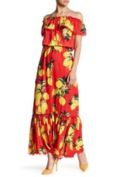 Alexia Admor Off The Shoulder Floral Ruffle Maxi Dress Red