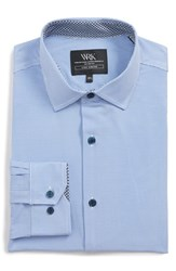W.R.K Big And Tall Trim Fit Stretch Houndstooth Dress Shirt Blue