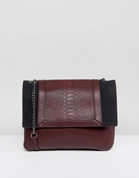 Nali Double Chain Strap Across Body Bag Burgundy Snake Red