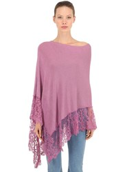 Pink Memories Linen And Lace Poncho Pink