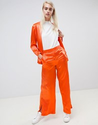Moss Copenhagen Wide Leg Trousers With Side Split Fiery Orange