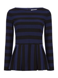 Marella Verve Striped Frill Hem Top Navy