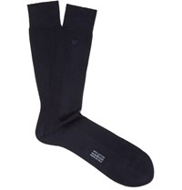 Tom Ford Embroidered Ribbed Cotton Socks Navy