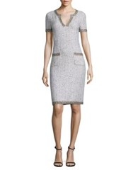 St. John Kira Tweed Dress Bianco Safari