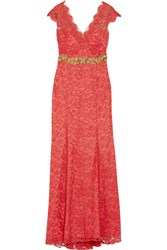 Marchesa Embellished Lace Gown Red