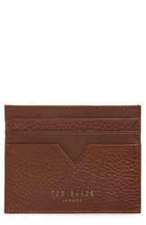 Ted Baker London Pebbled Leather Card Holder Brown Tan