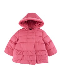 Mayoral Ruffle Hem Hooded Puffer Coat Size 4 12 Months Purple