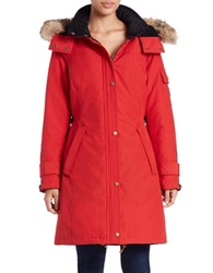 Pendleton Convertible Coyote Fur Trimmed Parka Red
