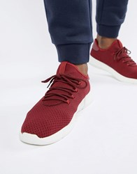New Look Knitted Detail Trainers In Burgundy Dark Burgundy Red