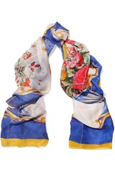 Dolce And Gabbana Printed Silk Voile Scarf White