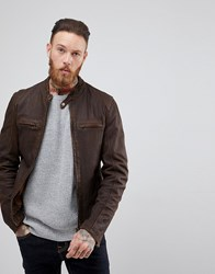 Goosecraft Washingon Leather Jacket With Button Collar In Brown Choc Brown