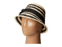 Kate Spade Crochet Crushable Striped Cloche Natural Black Traditional Hats Beige