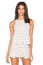 J.O.A. Sleeveless Stripe Top White