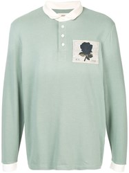 Kent And Curwen Rose Embroidered Polo Shirt Green