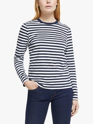 John Lewis Collection Weekend By Long Sleeve Breton Stripe T Shirt Navy White