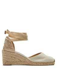 Castaner Carina Canvas Wedge Espadrilles Ivory