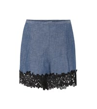 See By Chloe Lace Trimmed Chambray Shorts Blue