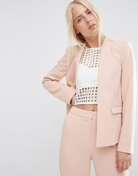 Asos Structured Edge To Edge Blazer Pink Neutral