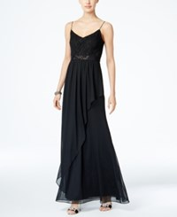 Adrianna Papell Spaghetti Strap Lace Gown Black