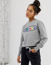 Ellesse Relaxed Sweatshirt With Rainbow Front Logo Grey Marl