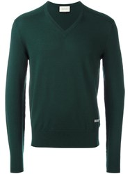 Gucci Classic V Neck Knitted Jumper Green