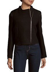 Maje Perfecto Asymmetrical Wool Jacket Black