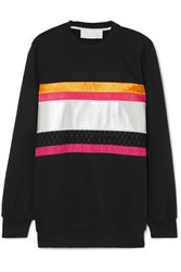 No Ka' Oi Ka'oi Hopena Color Block Cotton Blend Jersey Sweatshirt Black
