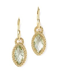 Bloomingdale's Beaded Marquise Green Amethyst Drop Earrings In 14K Yellow Gold Purple Gold