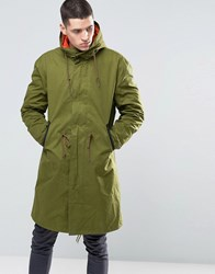 Pretty Green Parka With Contrast Removable Liner In Khaki Green