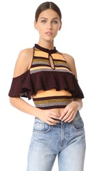 Apiece Apart Knit Cold Shoulder Top August Sky Stripe