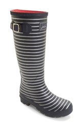 Joules Women's 'Welly' Print Rain Boot Grey Silver Stripe