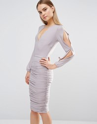 Ax Paris Split Arm Ruched Dress Long Sleeve Grey