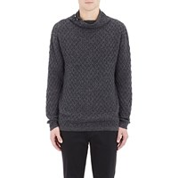 Barneys New York Diamond Knit Mock Turtleneck Sweater Charcoal