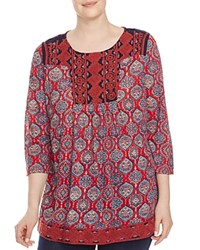 Lucky Brand Plus Embroidered Medallion Print Tunic Red Multi