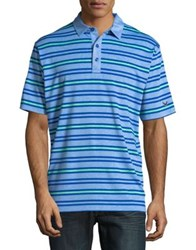 Callaway Opti Soft Heather Striped Short Sleeve Polo Golf Shirt Bright Cobalt
