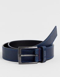 Ted Baker Acoin Stitch Detail Leather Belt In Navy