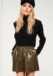 Missguided Khaki Faux Leather Utility Shorts