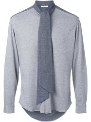 Aganovich Tie Neck Shirt White