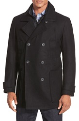 Marc New York By Andrew Marc 'Mulberry' Tall Double Breasted Wool Blend Peacoat Black
