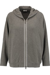 Brunello Cucinelli Embellished Cashmere Hooded Cardigan Gray Green