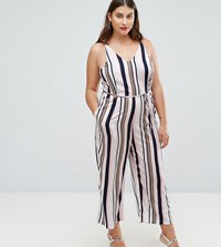 Ax Paris Plus Stripe Culotte Jumpsuit White Base Stripe Multi