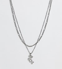 Reclaimed Vintage Inspired Multirow Chain 90S Dragon Necklace Silver